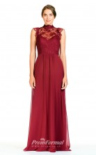 BDUK2278 A Line Burgundy Lace Chiffon High Collar Long Bridesmaid Dress