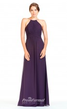 BDUK2283 A Line Regency Chiffon Halter Floor Length Bridesmaid Dress