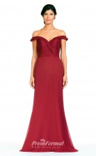 BDUK2284 Mermaid/Trumpet Burgundy Lace Chiffon Off the Shoulder Floor Length Bridesmaid Dress