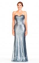 BDUK2289 Mermaid/Trumpet Silver Sequined Chiffon Sweetheart Floor Length Bridesmaid Dress