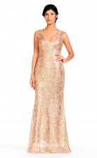 BDUK2290 Mermaid/Trumpet Gold Lace V Neck Floor Length Bridesmaid Dress