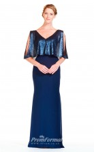 BDUK2292 Mermaid/Trumpet Royal Blue Sequined Chiffon V Neck Short Sleeve Floor Length Bridesmaid Dress