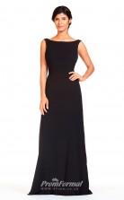 BDUK2294 A Line Black Chiffon Bateau Floor Length Bridesmaid Dress