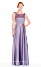 BDUK2298 A Line Purple Stretch Satin Scoop Floor Length Bridesmaid Dress