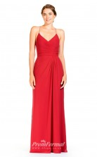 BDUK2299 A Line Red Chiffon Halter V Neck Floor Length Bridesmaid Dress