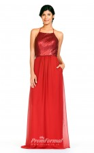 BDUK2300 A Line Red Sequined Chiffon Halter Floor Length Bridesmaid Dress