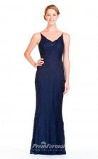 BDUK2303 Mermaid/Trumpet Navy Blue Lace V Neck Floor Length Bridesmaid Dress