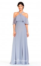 BDUK2304 Sheath Light Blue Chiffon Halter Short Sleeve Floor Length Bridesmaid Dress