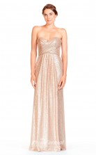 BDUK2306 A Line Champange Sequined Sweetheart Floor Length Bridesmaid Dress