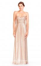BDUK2306 A Line Champange Sequined Sweetheart Floor Length Bridesmaid Dress