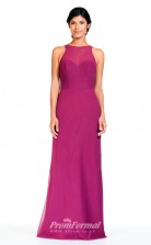 BDUK2308 Sheath Dark Fuchsia Chiffon Bateau Floor Length Bridesmaid Dress