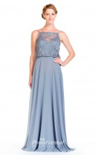BDUK2310 A Line Light Blue Lace Chiffon Bateau Floor Length Bridesmaid Dress
