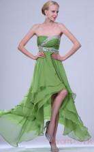 Clover 100D Chiffon A-line Strapless Hi-Lo Prom Dress(BD04-352)
