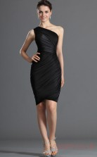 Black Satin Chiffon Sheath/Column One Shoulder Short Cocktail Dress(BD04-356)