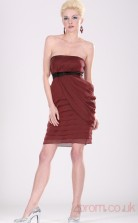 Burgundy 100D Chiffon Sheath/Column Strapless Short Cocktail Dress(BD04-362)