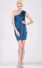 Royal Blue 100D Chiffon Sheath/Column One Shoulder Short Prom Dress(BD04-363)