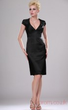 Black Satin Sheath/Column V-neck Short Prom Dress(BD04-365)