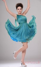 Sky Blue 30D Chiffon A-line One Shoulder Short Prom Dress(BD04-366)