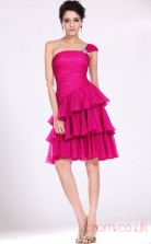 Fuchsia 100D Chiffon A-line One Shoulder Short Prom Dress(BD04-373)