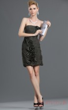 As Picture Organza Sheath/Column Strapless Short Prom Dress(BD04-375)