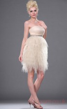 Pearl Pink Tulle A-line Strapless Mini Prom Dress(BD04-380)
