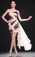 Silver 30D Chiffon Sheath/Column One Shoulder Mini Prom Dress(BD04-383)
