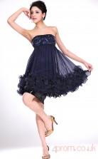Ink Blue Lace Chiffon A-line Strapless Mini Prom Dress(BD04-384)