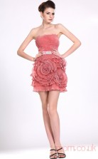 Candy Pink 100D Chiffon Sheath/Column Strapless Mini Prom Dress(BD04-385)