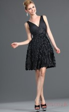 Black 100D Chiffon A-line V-neck Mini Prom Dress(BD04-388)