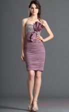 Lilac 30D Chiffon Sheath/Column Strapless Mini Prom Dress(BD04-389)