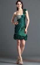 Dark Green 100D Chiffon Sheath/Column One Shoulder Sweetheart Mini Prom Dress(BD04-390)