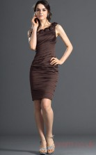 Brown 100D Chiffon Sheath/Column One Shoulder Mini Prom Dress(BD04-391)