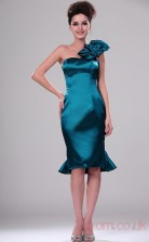 Ink Blue 100D Chiffon Sheath/Column One Shoulder Mini Prom Dress(BD04-397)