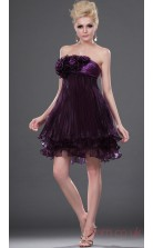 Grape Satin Chiffon A-line Strapless Mini Prom Dress(BD04-399)