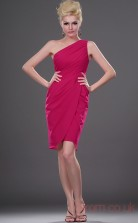 Fuchsia 100D Chiffon Sheath/Column One Shoulder Mini Prom Dress(BD04-400)