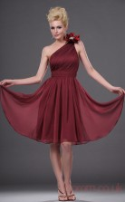 Burgundy 100D Chiffon A-line One Shoulder Mini Prom Dress(BD04-401)