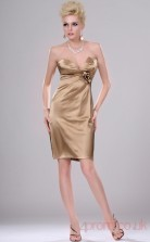 Champagne 100D Chiffon Sheath/Column Strapless Mini Prom Dress(BD04-403)