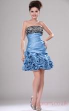 Sky Blue Organza A-line Strapless Mini Prom Dress(BD04-407)
