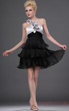 Black Tulle A-line Halter Mini Prom Dress(BD04-408)
