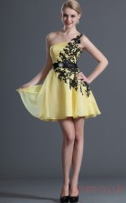 Yellow 100D Chiffon A-line One Shoulder Short Prom Dress(BD04-411)