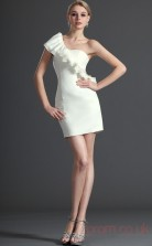 White Taffeta Sheath/Column One Shoulder Short Prom Dress(BD04-414)