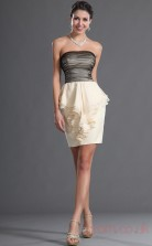 Ivory Tulle Chiffon Sheath/Column Strapless Short Prom Dress(BD04-421)