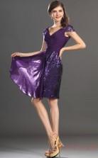 Regency Charmeuse A-line V-neck Mini Prom Dress(BD04-427)