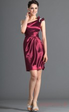 Burgundy Stretch Satin Sheath/Column One Shoulder Mini Cocktail Dress(BD04-431)