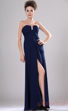 Ink Blue 100D Chiffon A-line Strapless Long Evening Dress-(BD04-434)