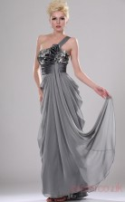 Silver Velvet Chiffon A-line One Shoulder Long Evening Dress-(BD04-436)