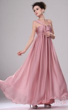 Nude Pink Satin Chiffon A-line One Shoulder Long Evening Dress-(BD04-437)