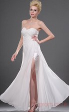Ivory 100D Chiffon A-line Sweetheart Strapless Long Evening Dress-(BD04-445)