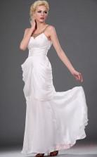 White 100D Chiffon Sheath/Column Straps Floor-length Prom Dress(BD04-446)
