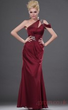 Burgundy 100D Chiffon Sheath/Column One Shoulder Floor-length Prom Dress(BD04-449)